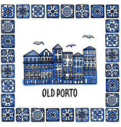 Portugal landmarks set old porto landscape of vector