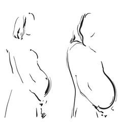 pregnant woman hand drawn line art cartoon vector image