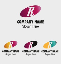 R letter logo template with elip symbol vector