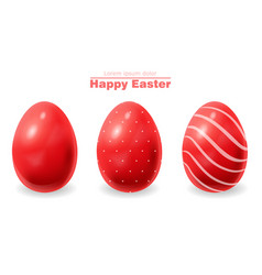 red easter eggs realistic happy holiday vector image