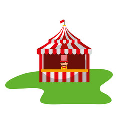 salesman booth carnival fun fair vector image