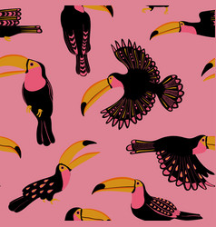 seamless pattern with funny toucan birds vector image
