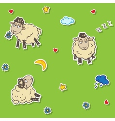Seamless sheep pattern vector