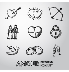 Set handdrawn love amour icons - heart vector