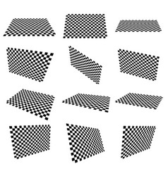 Set of checkered planes in different angle vector