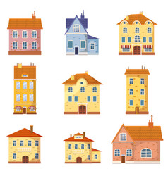 set of of cute colorful houses vector image