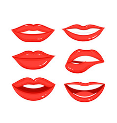 set woman s lip gestures vector image