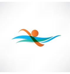 Sportsmen swimming icon vector
