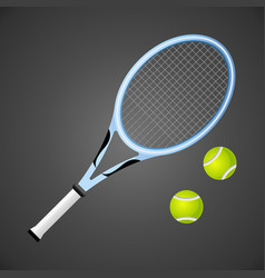 Tennis racket and balls isolated on dark vector