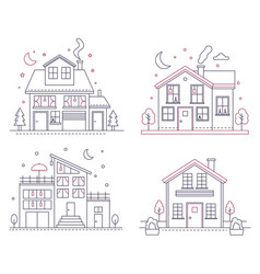 thin line icon suburban american houses vector image