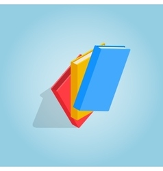 Three educational books icon isometric 3d style vector