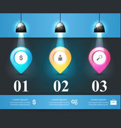 three pin items - business infographic vector image