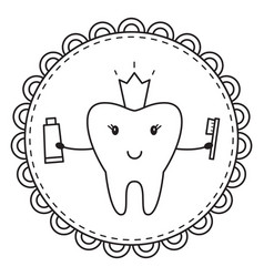 tooth coloring page vector
