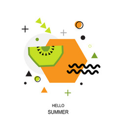 trendy style geometric pattern with kiwi vector image