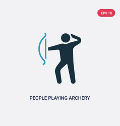 Two color people playing archery icon from vector