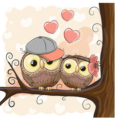 Two cute cartoon owls with hearts vector