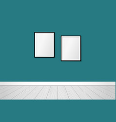 two frames on an emerald green wall interior vector image