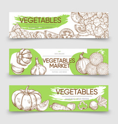 vegetable markets horizontal banners template with vector image