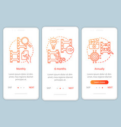 Video editor subscription onboarding mobile app vector