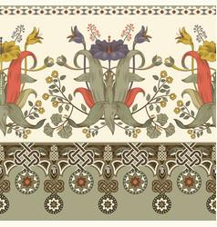 Vintage floral border seamless pattern vector