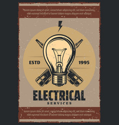 Vintage poster for electrical services vector