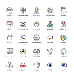 Virtual reality flat icons set vector