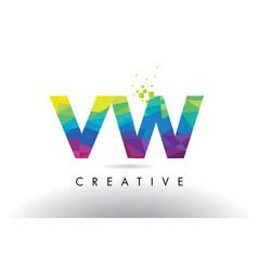vw v w colorful letter origami triangles design vector image