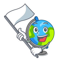with flag globe mascot cartoon style vector image