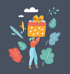 woman with gift wrapped presents in big box vector image