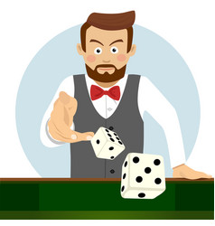 Young man throwing dice gambling concept vector