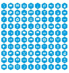 100 national flag icons set blue vector