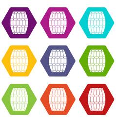 barrel icon set color hexahedron vector image vector image