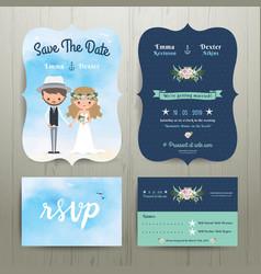 Bohemian cartoon couple on the beach wedding card vector image