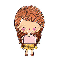 colored crayon silhouette of kawaii little girl vector image