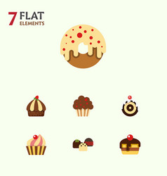 flat cake set of dessert muffin pastry and other vector image vector image