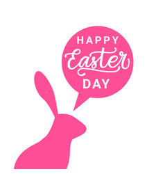 happy easter day card with pink rabbit silhouette vector image