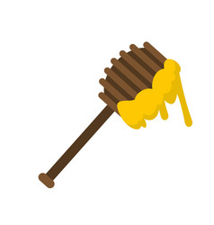 honey spoon icon flat style vector image vector image