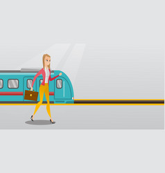 young woman walking on a railway station platform vector image