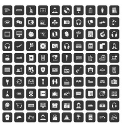 100 headphones icons set black vector image vector image