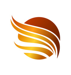 abstract circled golden wing symbol design vector image