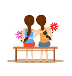 back view of two cute girls hugging together on vector image