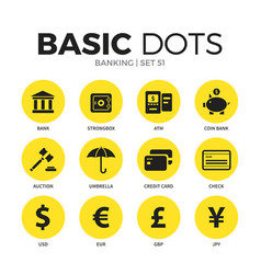 Banking flat icons set vector