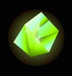 bright green luminous precious square crystal vector image vector image