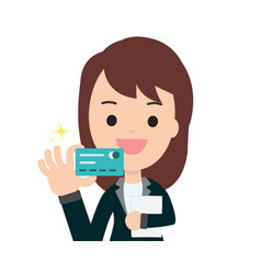 Business woman get credit card with isolated vector