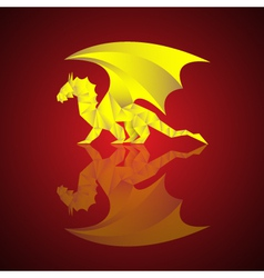 gold dragon - paper art in asian style vector image