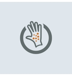 Gray-orange Itchy Palm Round Icon vector image vector image