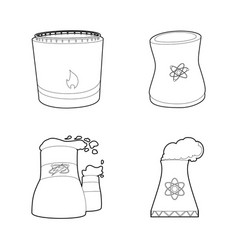 Power plant icon set outline style vector