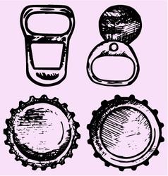 set bottle caps metal ring pull vector image
