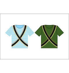 T-shirts with print cartridge belt Clothing for vector image