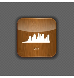 City wood application icons vector image